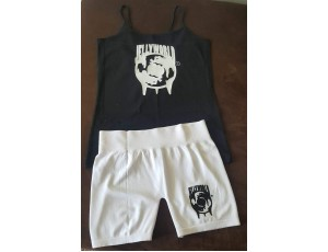 JW ladies shorts and tank(black & white)